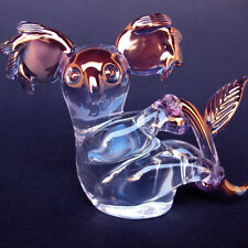 Koala Figurine Hand Blown Glass Blue Pink Gold Crystal
