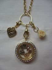 FLOATING MEMORY LOCKET W/ NECKLACE, CHARMS, & DANGLES  FITS ORIGAMI OWL LOCKET!