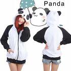 Women's Cute Panda Hoodie Sweatshirt Jacket Long Sleeve Jacket with Hat Winter