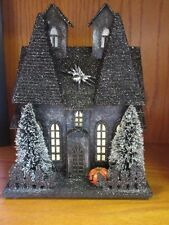 Sale ! New high end Halloween lighted up Black glitter creepy house, decoration