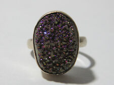 Vintage Purple Geode Druzzy Ring Sterling Silver Size 8.5