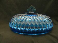 Vintage Fenton Colonial Blue Thumbprint Butter Dish, Chips