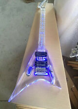 Custom Acrylic High Quality flying v Clear Electric Guitar With LED Light