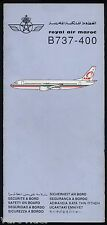 Royal Air Maroc RAM B737-400 safety card Code 945 1990 - good cond sc556