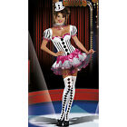 Harlequin Clown Showgirl Can Can Womens Fancy Dress Costume - S/M, XL,8,10,12,14