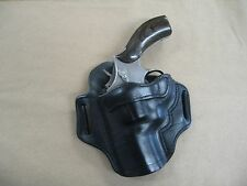 """Ruger GP100 Revolver 3"""" Barrel Leather 2 Slot Pancake Belt Holster CCW BLACK LH"""