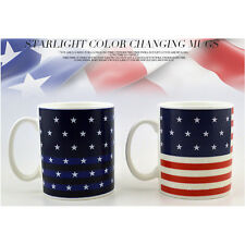 Ceramic Color Changing Cup Heating Discoloration American Flag Mug 6726