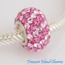 PINK STRIPES CZ CRYSTAL .925 Sterling Silver EUROPEAN EURO Bead Charm