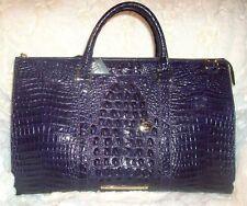 New w/tag BRAHMIN Anywhere Weekender melbourne croc embossed leather bag in ink