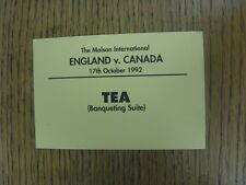 17/10/1992 Rugby Union Ticket: At Wembley - England v Canada (Tea - Banqueting S