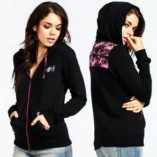 METAL MULISHA Pink Rose Fleece Sweater Black Top Hoodie Sinful Love Jacket SMALL