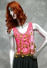 Velvet Tassel Coin Top in Hot Pink and Gold, for Belly Dance
