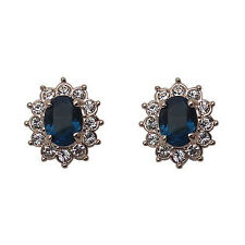 Fashion Jewelry - 18K Rose Gold Plated Blue CZ Stud Earrings (FE115)