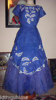 ~ STUNNING VINTAGE 50S FULL SKIRT ONE OF A KIND BLUE OCCASION PROM DRESS 8 10 ~
