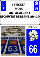 1 sticker plaque immatriculation MOTO DOMING 3D RESINE CASQUE DE POMPIER DEPA 66