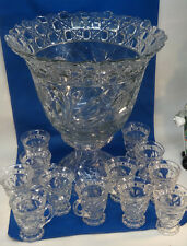 Cambridge Crystal Wild Rose Punch Bowl, Base, and 12 Cups