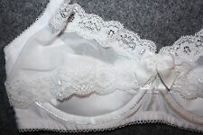Fredericks of Hollywood Sexy White Lace Shelf Bra Quarter Cup Halter Size Small