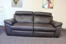 NATUZZI ANDRIA BROWN LEATHER,ELECTRIC RECLINER 3 SEATER SOFA