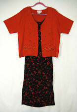 DRESS BARN Women Size 16 W Black Floral Rose Dress with Red Embroidered Sweater