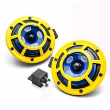 HELLA YELLOW DUAL HORN UNIVERSAL SHARPTONE PANTHER +RELAY+WIRING 100 % AUTHENTI