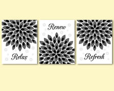 3 prints, modern art for bathroom wall decor - flowers, black and white, grey