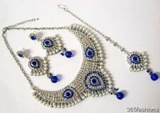 STATEMENT GLAM BOLLYWOOD INDIAN WEDDING NECKLACE EARRING TIKKA SET SILVER BLUE