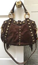 Gucci Brown Leather Fringe Studded Handbag With Cross Body Strap