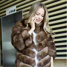 NEU! Sable color Zobel Farbe Fuchs Pelzjacke brown fox fur coat 34 XS