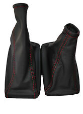 FITS ASTRA MK4 G COUPE TS LEATHER GAITORS SET RED DOUBLE STITCHING