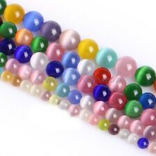 Cat's Eye Round Ball Crystal Glass Loose Spacer Beads 8mm Mixed Color New
