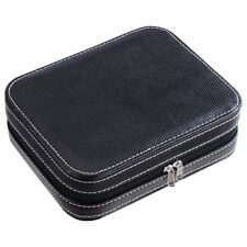 Large 4 Watch Display Box Travel Zipper Storage Case Organizer Black PU Leather