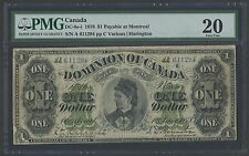 CANADA DC-8e-i 1878 $1 PAYABLE AT MONTREAL NOTE PMG 20 VF WLM1204