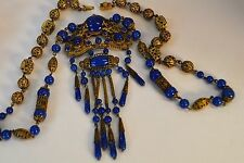 FAB! Antique 1920 CZECH Art Deco Lapis Blue Glass-Filagree Brass-Neiger Necklace