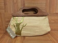 $89❤️ Mar Y Sol Isadora Raffia Bag Gold Baobab Tree Wood Handmade Madagascar
