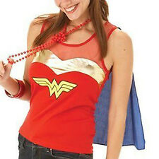 Costume Robe Fantaisie pour Femme Haut & Cape Wonder Woman Officiel de blue & red taille 12-14