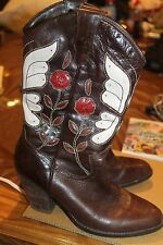 Steve Madden Leather Cowboy Boots Brown w Cut Out Flower Ladies 6 1/2