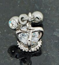 1 Pc crown cage w/ loose C.Z dangle surgical steel tragus/ cartilage Piercing