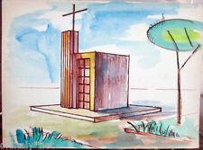Acquerello '900 su carta Watercolor Architettura futurista cubista razionale-119