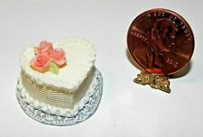 Dollhouse Miniature Cake Valentine Heart White  Falcon Minis 1:12 Scale