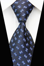 Black Hand Made 100% Pure Silk Neck Tie with  Blue & White Bow Tie Pattern
