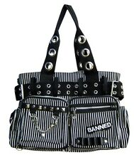 BANNED STRIPED SHOULDER BAG Handcuff Canvas Handbag Gothic Rock black White