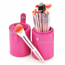 Beauties Factory 18pcs Gaga Makeup Brushes Set Pink Leather Holder Stand AZ820P