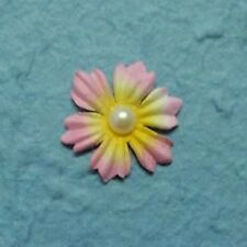 PACK 10 PINK & LEMON PEARL CENTRE FLOWER HEADS FOR CARDS OR CRAFTS