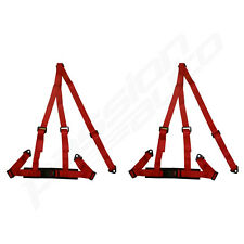 PAIR OF RED 3 POINT RACING SEAT BELT HARNESSES FOR CAR/OFF ROAD/4x4 HARNESS