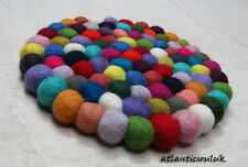 HM1 Hand Craft Felt Ball wool pom pom beads Round Decorative Hot Pot Pad Mat