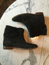 $790 ISABEL MARANT Crisi Black Suede Hidden Wedge Bootes 41 10