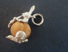 Sterling Silver touch Wood Fob Charm  - RABBIT & Carrot