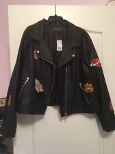 Forever 21 Plus Size 3x Leather Patch Jacket Black Motorcycle