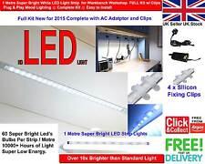 1m Super Bright White LED Light Strip for Workbench /Workshop FULL Kit w/ Clips
