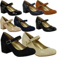 WOMENS LADIES MARY JANE STRAP OFFICE WORK COMFY LOW MID HEEL COURT SHOES SIZE